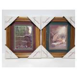 Framed religious art pair