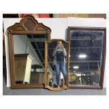Three large vintage framed mirrors