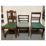 Mismatched vintage green seated chair trio
