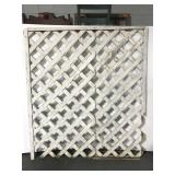 Old weathered white garden lattice section
