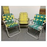 Retro folding lawn chair trio