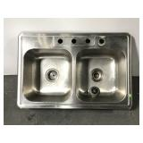 Stainless steel divided sink