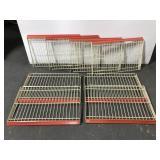 Eight metal shelving racks