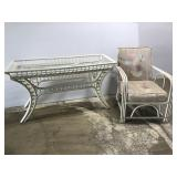 White rattan sofa table & matching chair