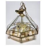 Gold toned beveled glass light fixture