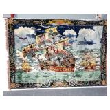 Large Nautical ship tapestry