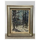 Original framed moonlight woods oil painting