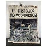 Lot of 2 Detroit News first color moon photos