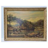 Cattle and fishing scene print in old wood frame
