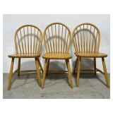 Lot of 3 oak wood dining chairs