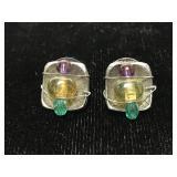 Handmade wire wrapped bead earrings