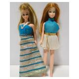 Two small vintage Barbie like dolls