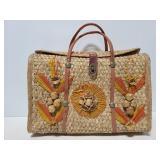 Vintage handwoven Mexico souvenir tote bag
