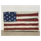 Hand painted reclaimed wood American flag