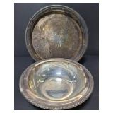 Unmarked metal serving tray and bowl