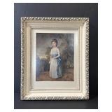 Antique wood framed English girl portrait