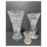 Cut glass vase trio