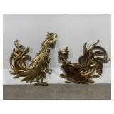 Lot of 2 large vintage syroco wood gold roosters