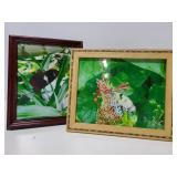 Two framed photos of butterflies