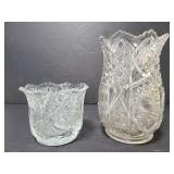 Two cut glass vases