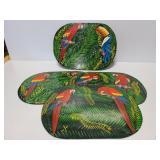 Set of 4 hard Parrot themed place mats