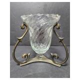 Glass vase with metal stand