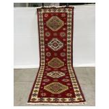 Vintage traditional style red runner rug