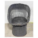 Grey painted wicker bucket chair