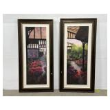 Lot of 2 framed original greenhouse paintings