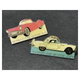 Two Detroit Motor City classic car lapel hat pins