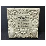 Distressed ceramic Garden Friends plaque