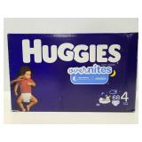 New box of Huggies Overnights size 4