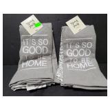 Two new sets of gray hand towels
