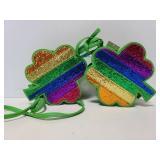 Two NWT rainbow glitter clover purses