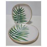 Two ceramic ferm leaf trinket dishes