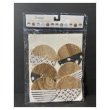 Decorative wood circle pattern banner