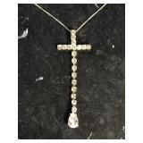 Sterling silver teardrop cross pendant on chain