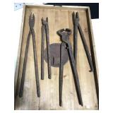 Old rusty blacksmith forge tools