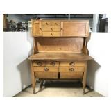 Vintage wood farmhouse hutch w/ round drawers