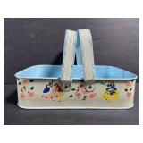 Small vintage blue metal basket