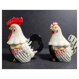 Rooster/chicken sugar & creamer marked 2K2155