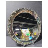 Metal round mirrored vanity tray w/ grape design