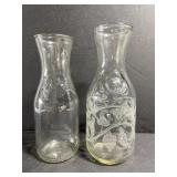 Lot of 2 vintage glass wine decanters