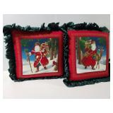 Two Santa decor pillows