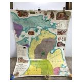 Large vintage Native American nations Michigan map