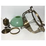 Vintage hanging chandelier lamp w/ green shade