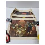 Three dogs playing poker prints