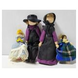 Four clothespin dolls