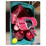 Bin of youth softball/basball gear