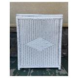 Vintage white wicker hamper